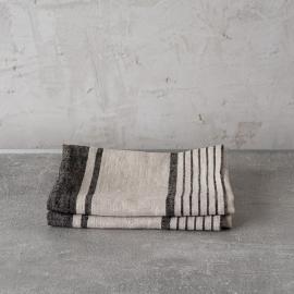 Set of 2 Natural Black Striped Linen Tea Towels Provence