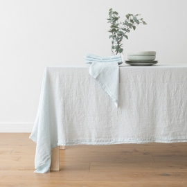 Stone Washed Ice Blue  Linen Tablecloth