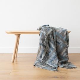 Blue Merino Wool Throw Marta