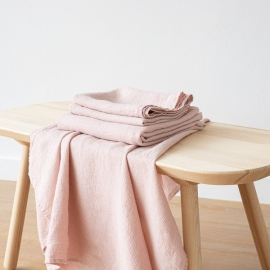 Rosa Linen Bath Towels and Hand Towels Washed Waffle