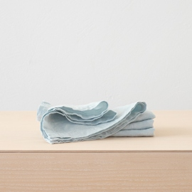 Stone Washed Linen Tablecloth Ice Blue