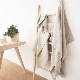 Linen Bath Towel Set Beige Twill