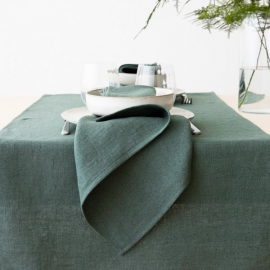Linen Tablecloth Balsam Green Stone Washed Rhomb