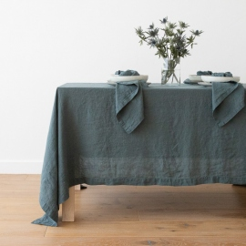 Stone Washed Balsam Green Linen Tablecloth