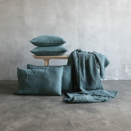 Balsam Green Linen Throw with Fringes Washed Waffle Big