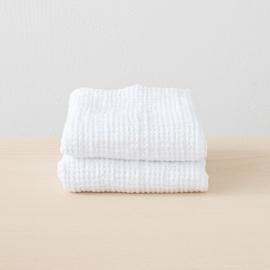 Linen Waffle Big Bath Towel Set White