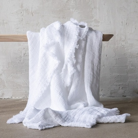White Linen Throw with Fringes Washed Waffle