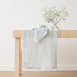 Ice blue Linen Runner Stone Washed
