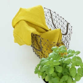 Set of 2 Stone Washed Linen Tea Towels Citrine