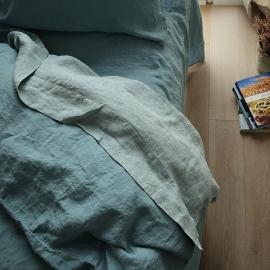 Stone Blue Stone washed Rhomb Bed Linen Flat Sheet