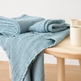 Linen Waffle Bath Towel Stone Blue