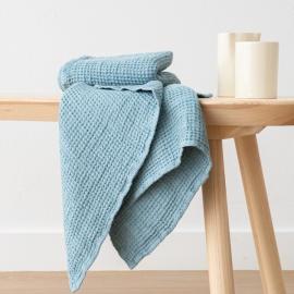Linen Waffle Hand Towel Set Stone Blue