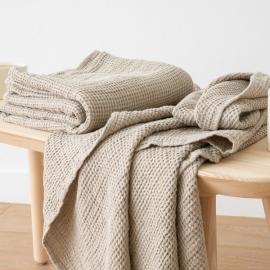 Linen Waffle Bath Towel Natural