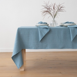Stone Blue Linen Tablecloth Lara