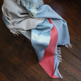 Stone Blue Coral Merino Wool Throw Marco