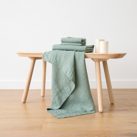 Spa Green Linen Bath and Hand Towels Set Washed Waffle