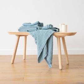 Linen Waffle Bath Towel Set Stone Blue