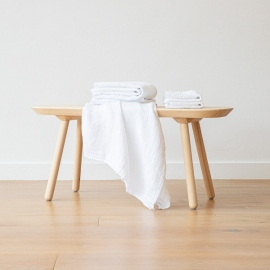 Linen Waffle Bath Towel Set White