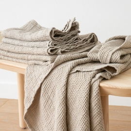 Linen Waffle Bath Towel Set Natural