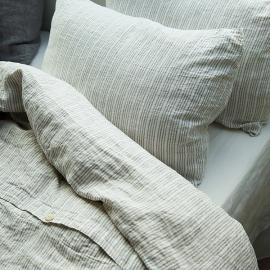 Multistripe Natural White Linen Bed Set