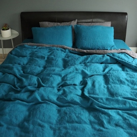 Marine Blue Stone washed  Bed Linen Duvet