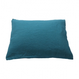 Marine Blue Linen Pillow Case Stone Washed