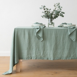 Stone Washed Spa Green Linen Tablecloth