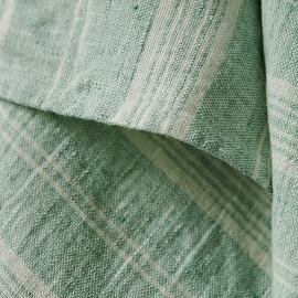 Set of 2 Hand Towels Mint Linen Multistripe