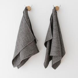 Huckaback Linen Bath Towel Chevron in Black
