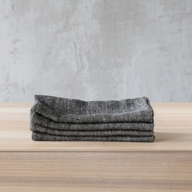Black Linen Napkin Chevron