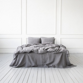 Steel Grey Linen Fabric Stone Washed