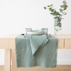 Runner Spa Green Linen Rustic