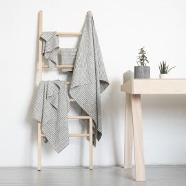 Black Natural Linen Bath Towels Set Brittany
