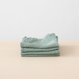 Set of 4 Spa Green Linen Wash Cloths Waffle