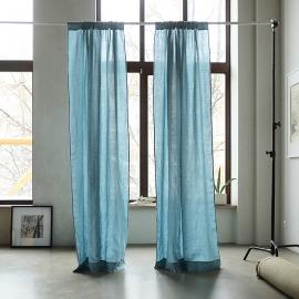 Stone Blue Stone Washed Rod Pocket Linen Curtain Panel