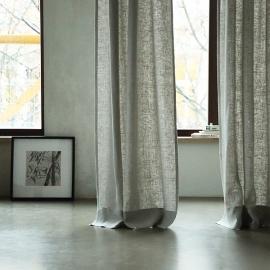 Silver Linen Curtain Panel With Pencil Pleats Lara