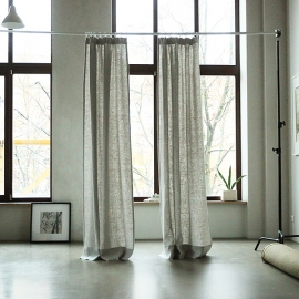 Silver Linen Curtain Panel With Pencil Pleats Lara