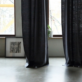 Grey Linen Curtain Panel With Pencil Pleats Lara