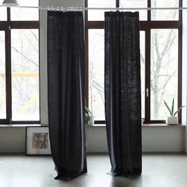 Grey Linen Curtain Panel With Pencil Pleats Lara