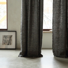 Black Linen Pencil Pleat  Curtain Panel Chevron