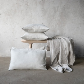 Silver Linen Cushion Cover Stone Washed