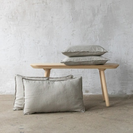 Taupe Linen Cushion Cover Stone Washed