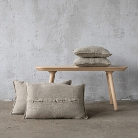 Natural Linen Cushion Cover with Fringes Rustic