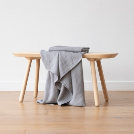 Graphite Linen Waffle Bath Towel Washed