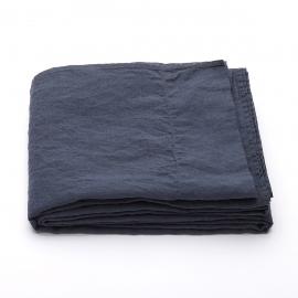 Indigo Linen Flat Sheet Stone Washed