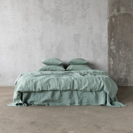 Spa Green Linen Bed Set Stone Washed
