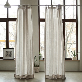 Silver Stone Washed Linen Curtain Panel with Ties