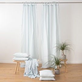 Ice Blue  Stone Washed Linen Curtain Panel with Ties