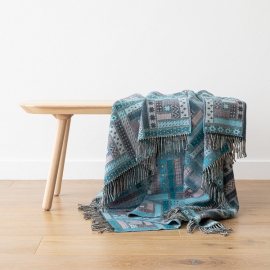 Turquoise Merino Wool Throw Marta