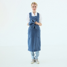 Stone Washed Linen Back Cross Apron Indigo
